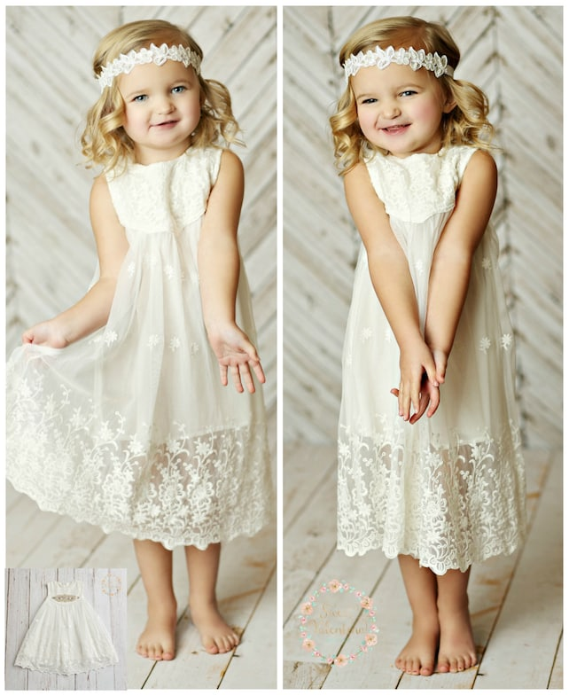 White flower girl dress girls lace dress rustic flower girl etsy image 0 mightylinksfo