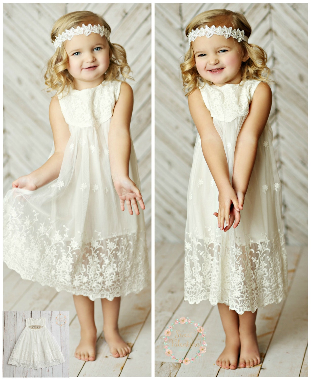 White Flower Girl Dress Girls Lace Dress Rustic Flower Girl Etsy