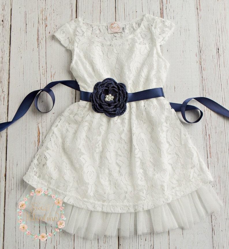 790978e73 Navy Blue Flower girl dress rustic flower girl dress country | Etsy