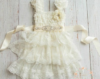 lace girl dress, flower girl dress, flower girl lace dresses, rustic flower girl,  country lace dress, Ivory toddler dress, baby lace dress