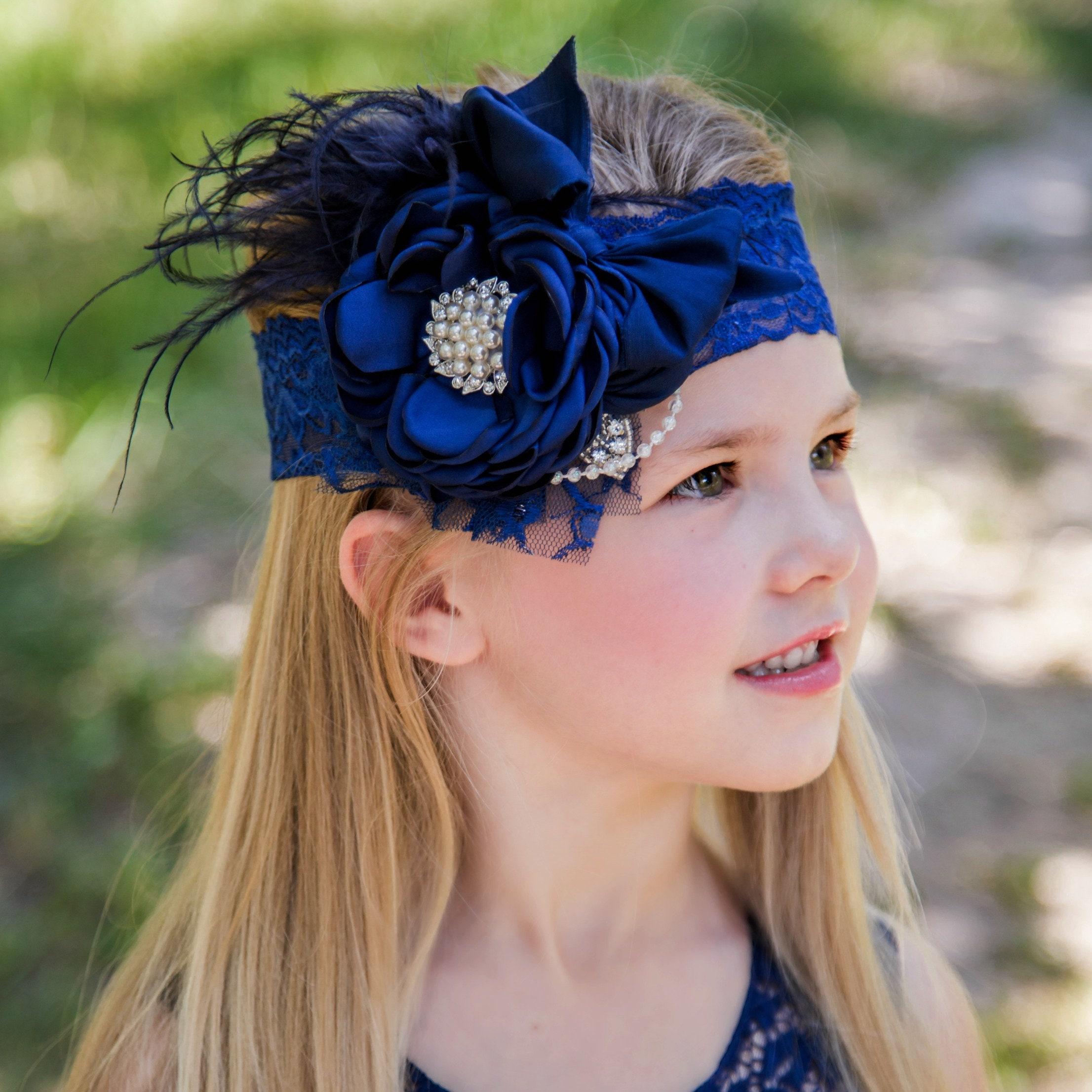Navy Blue Headband Flower Feather Headband Girl Headband