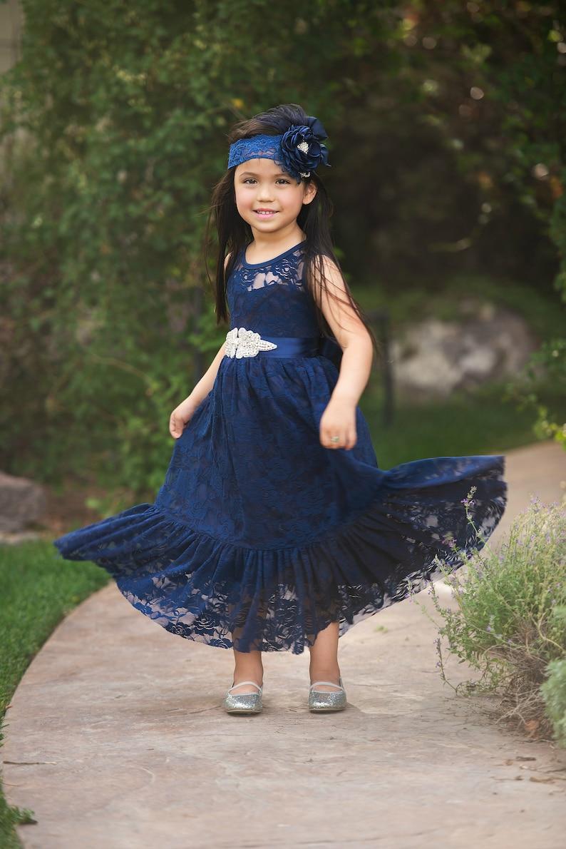6d564cb01 Navy Blue Flower girl dress Flower girl dresses Easter girls | Etsy