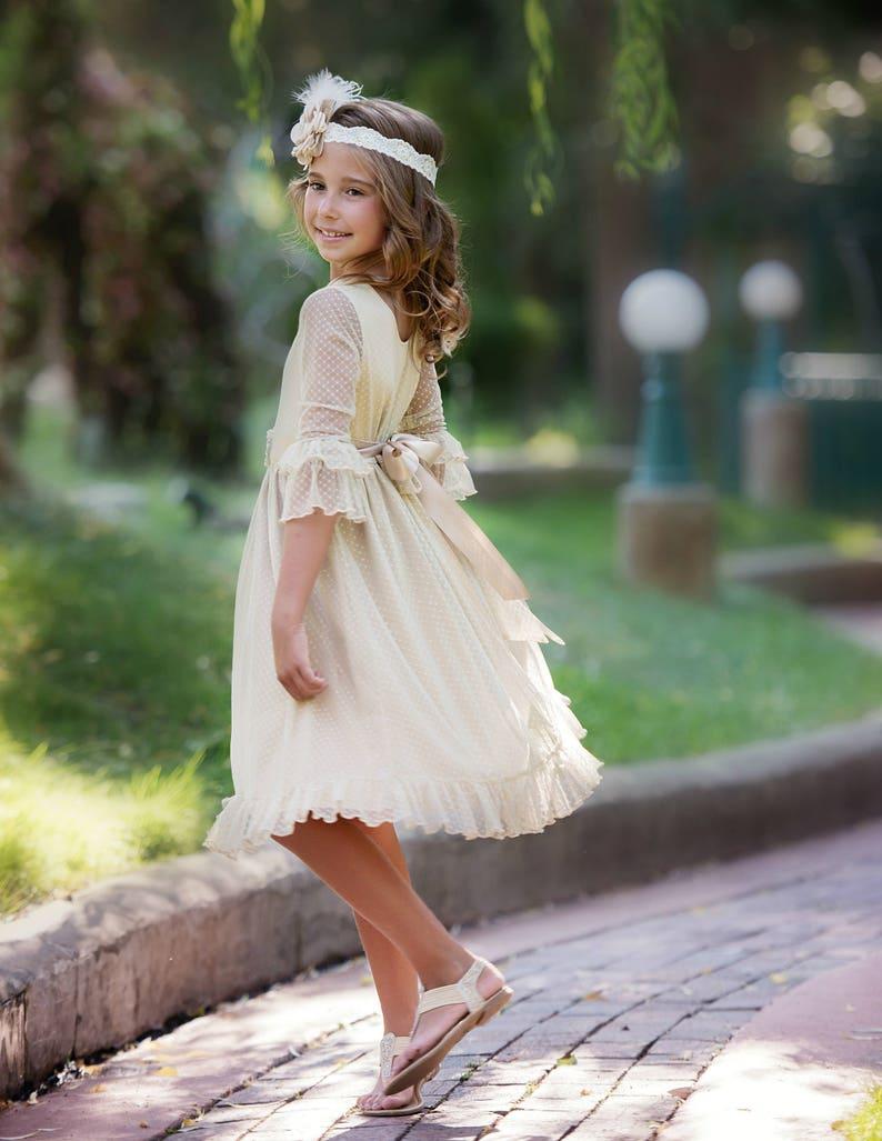 030c07c08f Lace flower girl dress flower girl dressesrustic Champagne