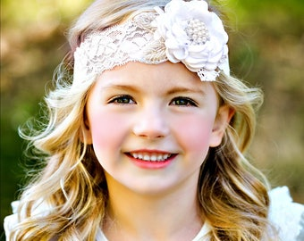 White Baptism headband, Baby Headbands, White baby headband, Infant Headband, Newborn Headband, Christening Headband, Flower girl headband