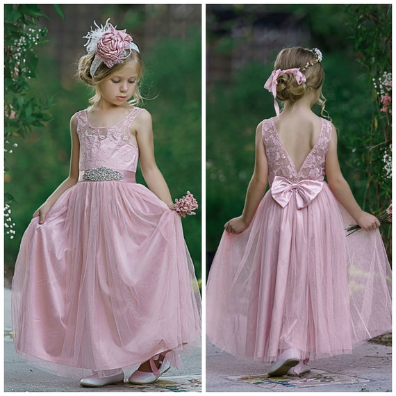 SALE Dusty Rose Flower girl Dress, Flower Girl dresses, Girls Dresses, Tulle Flower Girl Dress, Beach flower Girl, Junior Bridesmaid