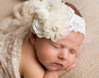 Ivory Baptism Headband, Christening Headband, Baptismal Hair Bow, Baby Headband,Newborn Headband, Ivory Infant Headband, Baby Headbands,