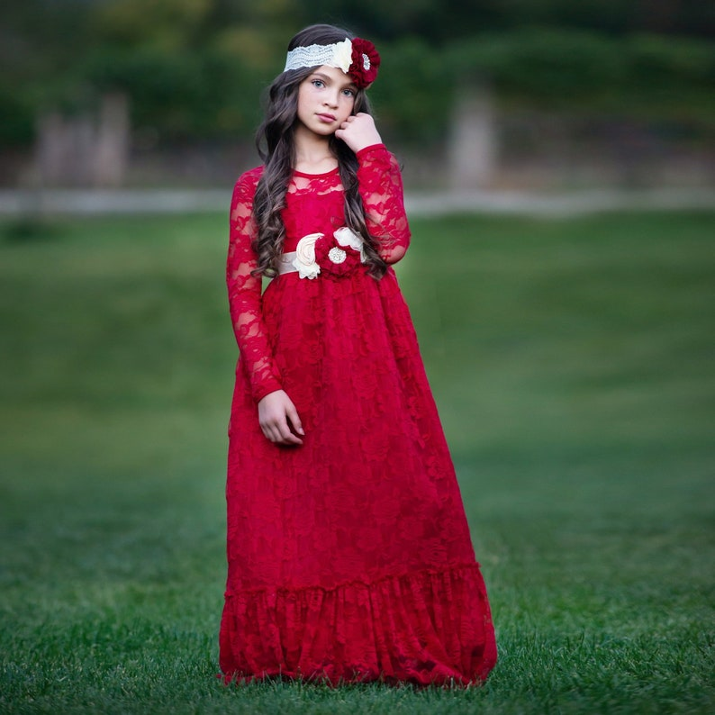 4b78270d2 Red Lace flower girl dress Flower girl dresses Burgundy | Etsy
