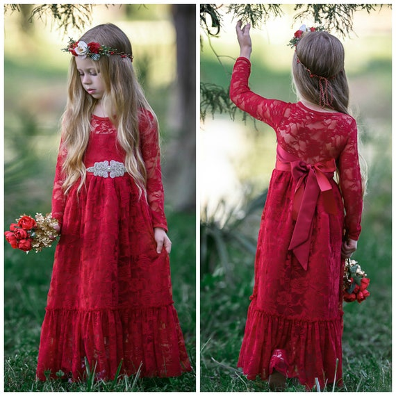 SALE Red lace flower girl dress girl