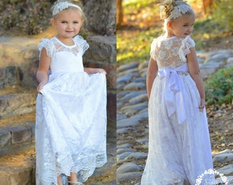 Lace girl dress, flower girl dress, flower girl lace dresses, country lace dress,white  toddler dress, ivory lace dress, Rustic flower girl