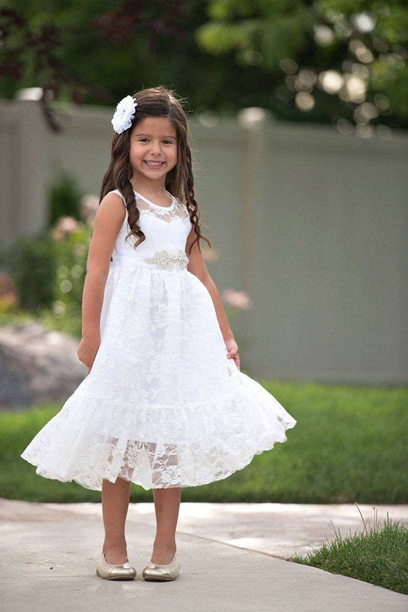 02758d531a1 White Flower girl dress Flower girl dresses girls lace