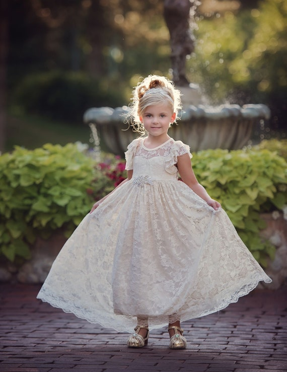 Country Lace Flower Girl Dress