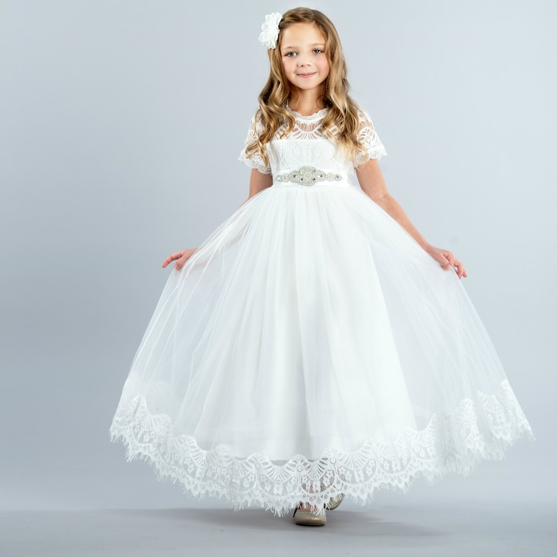 fb1529238c White Lace Flower girl dress Tulle Rustic flower girl dress