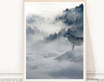 Wolf Art Print, Landscape Print, Animal Poster,  Black and white Print, Printable Wall Art, Instant Download, Home Decor