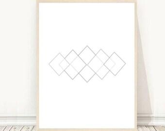 Geometric Art Print, Printable Art, Grey Wall Print, Abstract Art Print, Modern Wall Art, Minimalist Wall Art, Digital download