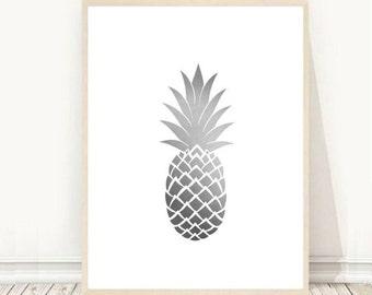 Grey Pineapple Print, Printable art, Pineapple Print, Modern Wall Art, Pineapple Art, Tropical Print, Grey Wall Art, Instant Download