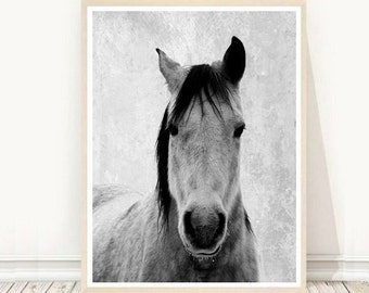 Horse Photo, Printable Art, Horse Art Print, Horse Print, Black And White Horse, Textured, Wall Decor, Wall Art, digital Download