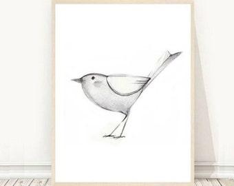 Bird Printable Art Drawing Modern Wall Instant Download Digital Folksy