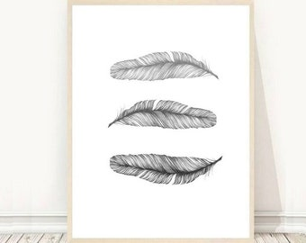 Grey Feather Print, Feather Art, Printable Wall Art, Grey Wall Decor, Instant Download, digital Art, Single Feathers