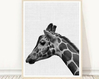 Giraffe Print, Giraffe Wall Art, Printable Art, Black And White Art, Animal Print, Instant Download, Home Decor, Wall Decor, Wall Art