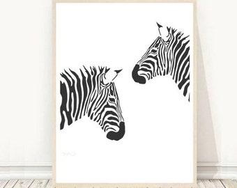 Zebra Print, Black and white Zebra Print, Printable Wall Art, Nursery Art,  Instant Download, Modern Wall Art