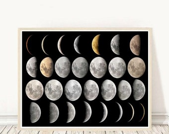 Moon Print, Moon Phases, Printable Art, Moon Phase Printable, Modern Wall Art, Wall Decor, Instant Download