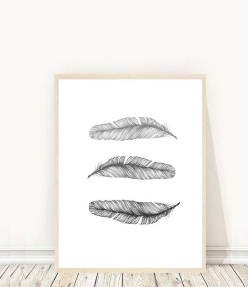 Grey Feather Print Feather Art Printable Wall Art Grey Wall image 0