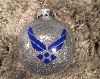 USAF Ornament, Air Force Ornament, Airman Ornament, United States Air Force w/ CUSTOM BACK writing!
