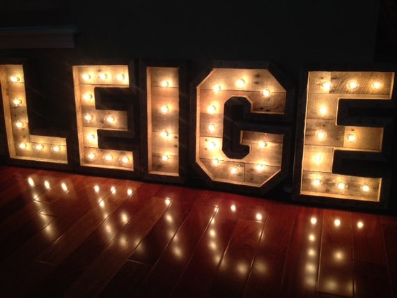 Marquee Letters Verlichting : 30 inch verlicht marquee letters grote houten letters etsy
