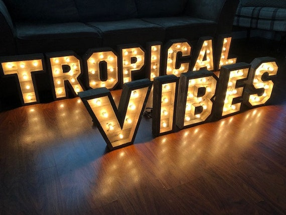 14 Lighted Marquee Letters Marquee Letters Wood Letters Rustic Wood Letters Decor Boutique Restaurant Wedding Industrial