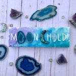 Moon child canvas with watercolor, acrylic, agate and quartz and handmade resin moon