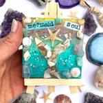 Mermaid Soul crystal  art mini canvas on easel boho gift