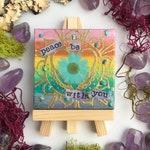 Peace be with you crystal  mandala art mini canvas on easel boho gift
