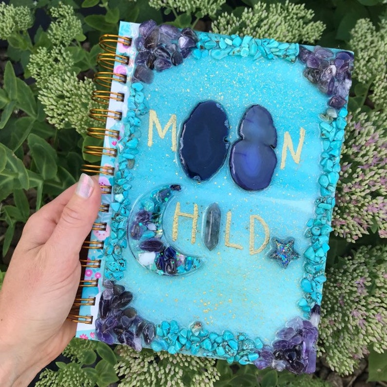 Moon Child Journal with agate slices  turquoise amethys image 0