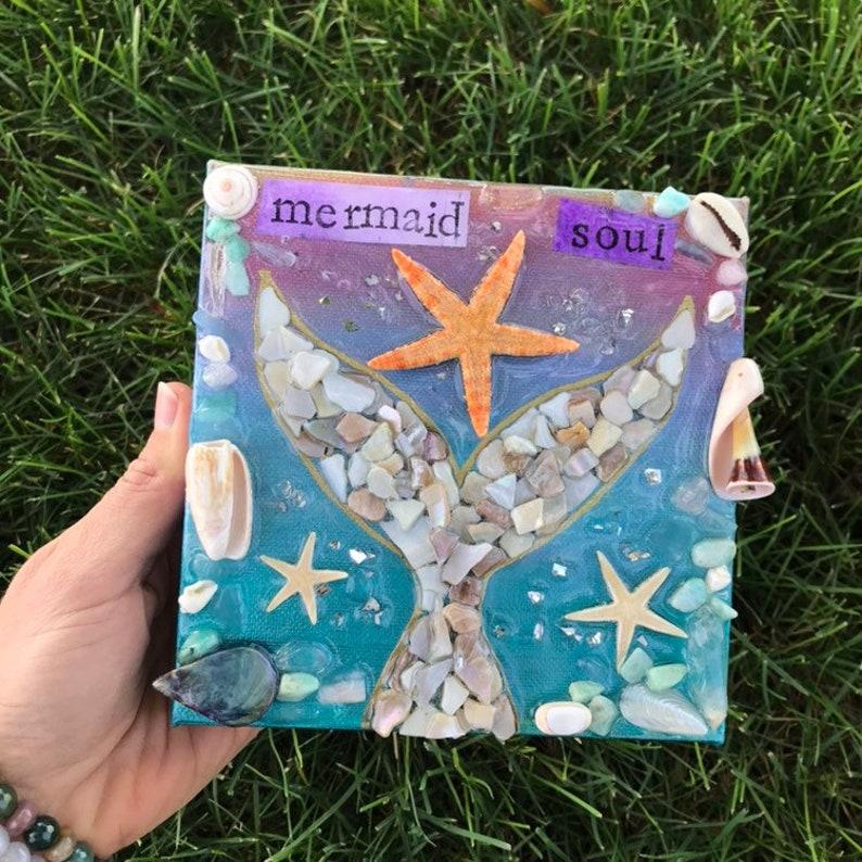 Mermaid Soul crystal  art canvas boho gift image 0