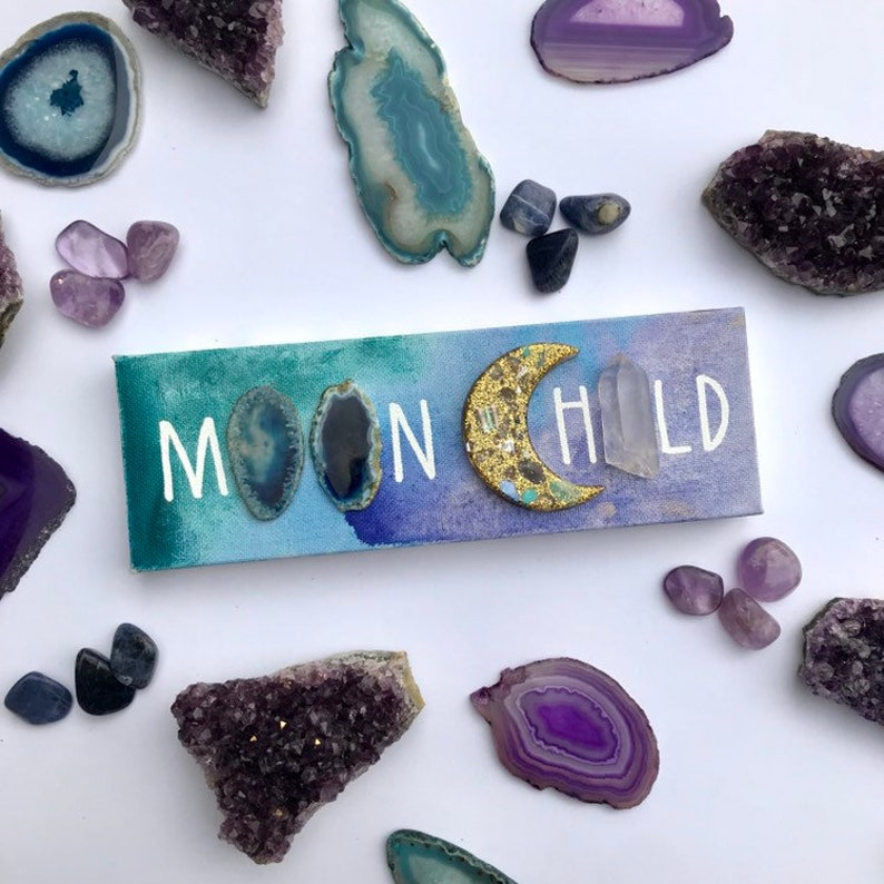 Moon child canvas with watercolor acrylic agate and quartz image 0