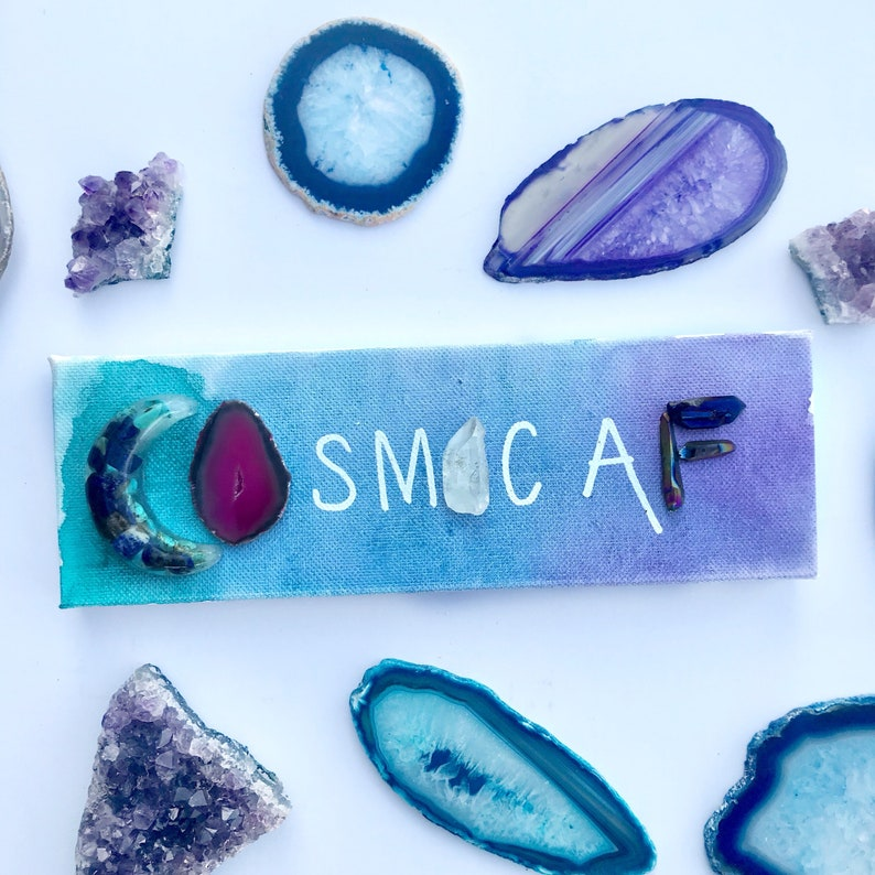Cosmic AF canvas with watercolor acrylic agate and quartz image 0