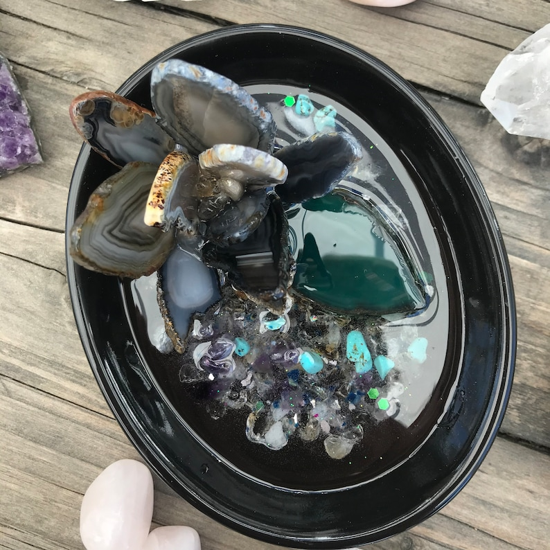 Lotus and agate lily pad ring catch all plate ring dish