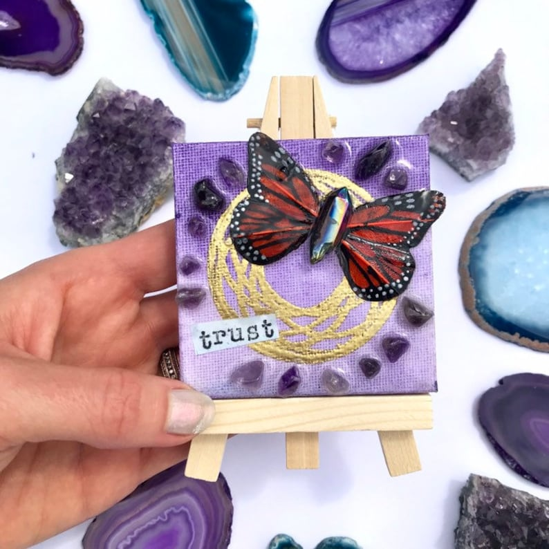 Trust  butterfly mandala and crystal art mini canvas on easel image 0