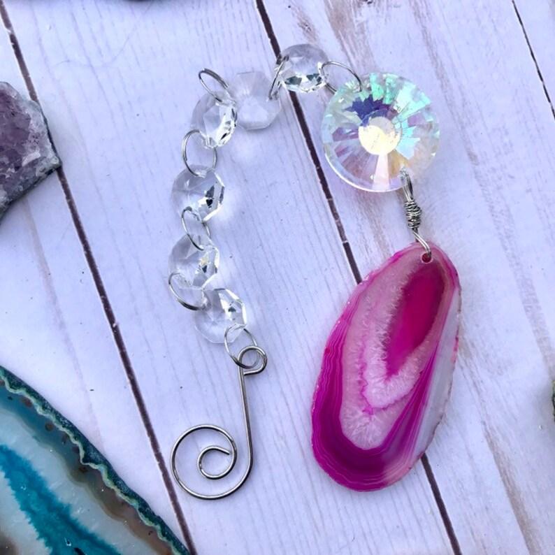 Pink agate crystal suncatcher window hanging image 0
