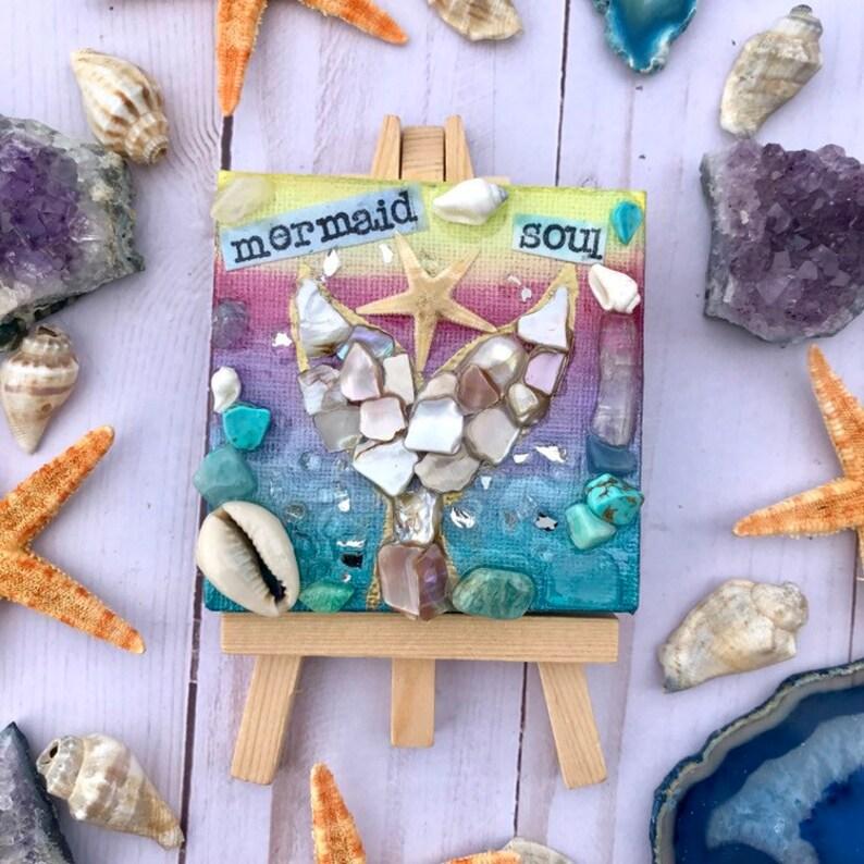 Mermaid Soul crystal  art mini canvas on easel boho gift image 0