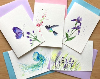 Best Sellers - set of 5, Hand painted watercolor card set, Great Value, Free Shipping