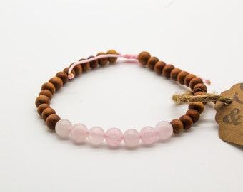Rose Quartz and Sandalwood Mala Bracelet