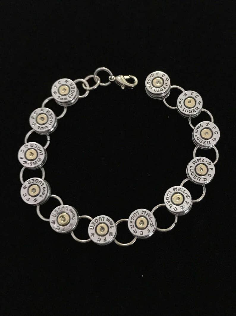 9mm silver bullet tennis link bracelet ammo spent round casing image 0