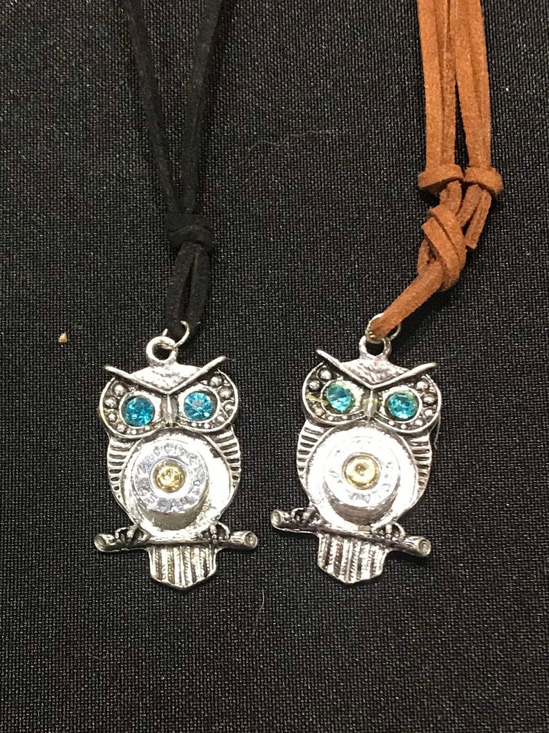 Silver owl bullet jewelry necklace with  turquoise aquamarine image 0