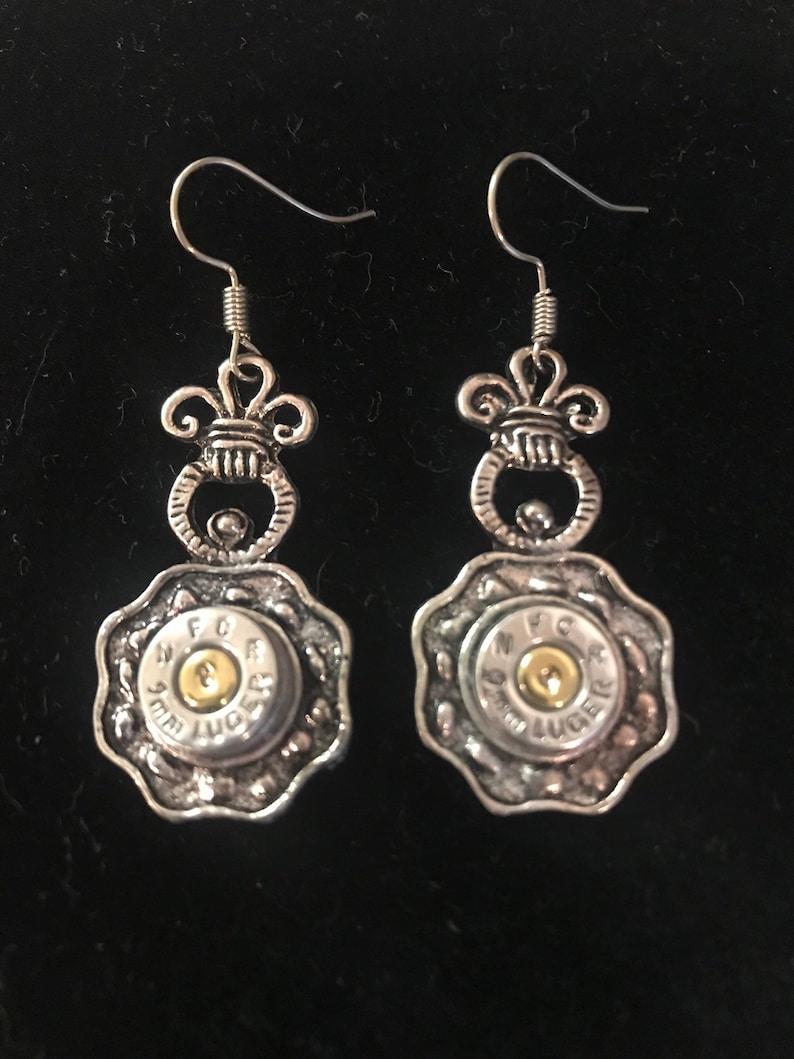 Bullet earrings pineapple jewelry silver 9mm gun ammo shooting image 0