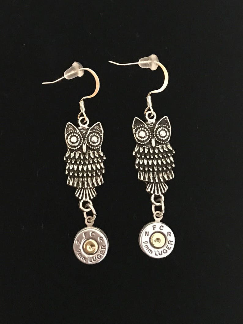 Owl bullet earrings 9mm ammo dangle earrings image 0
