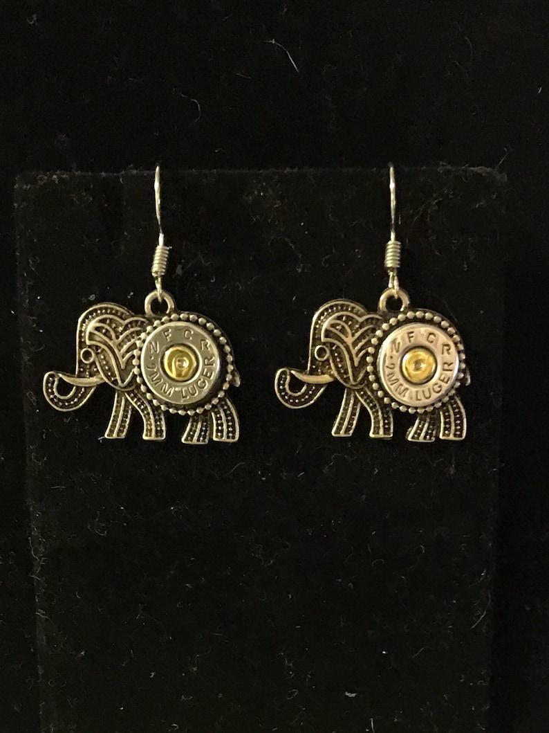 Elephant 9mm bullet dangle earrings  silver tone Republican image 0