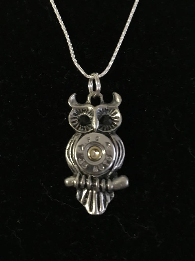 45 bullet owl necklace silver with black eyes image 0
