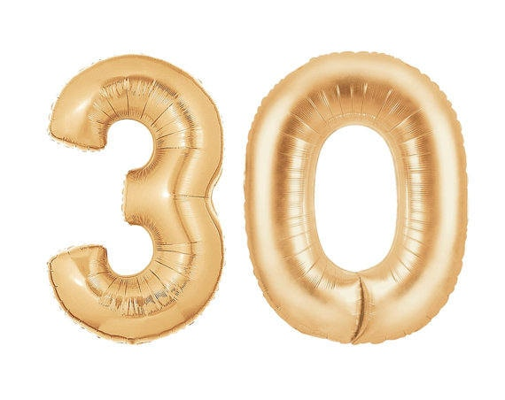 30th Birthday Decorations HUGE Number Balloon 40 Mylar Foil Helium Gold Photo Props Anniversary Decor