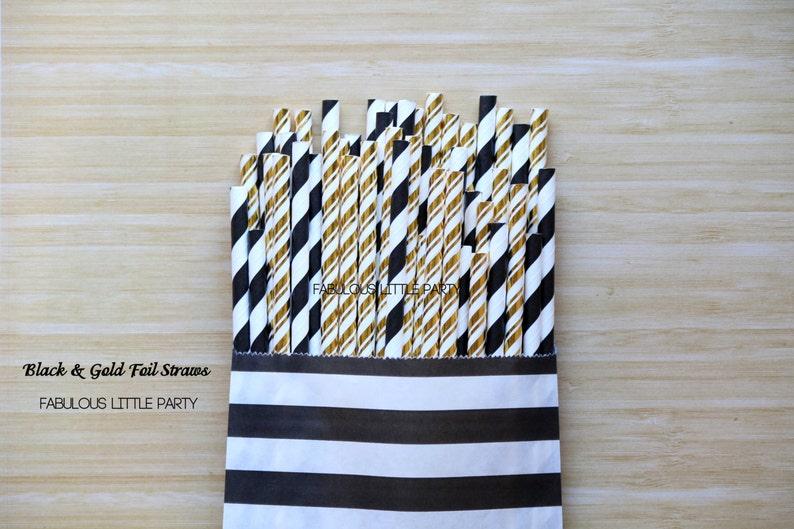 Black and Gold Foil Party Straw Mix The Great Gatsby Party DecorationsBridal ShowerBirthdayWeddingGraduationBaby Gold FoilBlackWhite